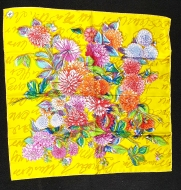 Mantero Bright Yellow Floral Silk Scarf