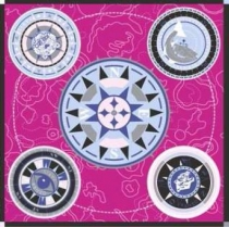 Kenzo Compass Icons Silk Scarf Hot Pink