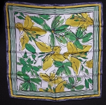 Xandres Mustard Green Floral Scarf