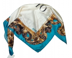 Moschino Ornate Border Scarf Turquoise