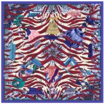 Christian Lacroix Tiger World Scarf Blue