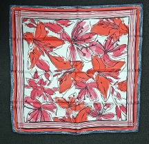 Xandres Red Grey Floral Scarf