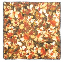 Echo Floral and Tweed Silk Scarf Orange