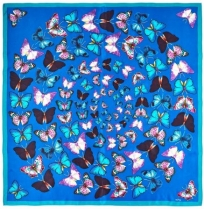 Echo Butterfly Swirl Silk Scarf Blue