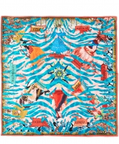 Christian Lacroix Tiger World Scarf Turq