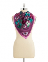 Echo Butterfly Swirl Silk Scarf Purple