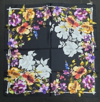 Barbieri Floral Silk Scarf Black