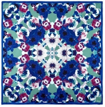 Echo Flora Square Scarf Electric Blue