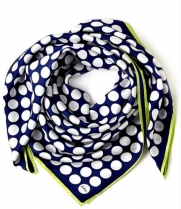 Echo Polka Dot Silk Scarf Navy