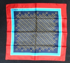 Zaerna Navy Red Silk Scarf