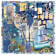 Christian Lacroix Art Love Scarf Blue