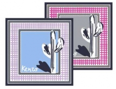 Kenzo Double Cactus Silk Scarf Lilac
