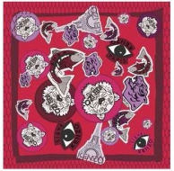 Kenzo Badges Silk Scarf Red