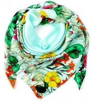Echo Garden Party Silk Scarf Aqua