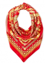 Versace Head Metal Silk Scarf Red