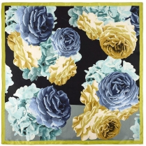 Echo Floral Colourblock Scarf Black