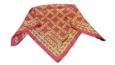 Moschino Gold Red Chain Silk Scarf