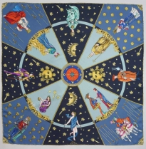 Echo In the Cards Silk Scarf Blue