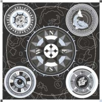 Kenzo Compass Icons Silk Scarf Black