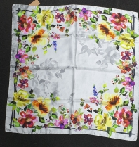 Barbieri Floral Silk Scarf Grey