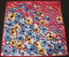 Kenzo Crocodile Flowers Silk Scarf Red