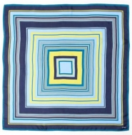 Echo Cascading Square Silk Scarf Navy