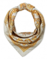 Versace Head Metal Silk Scarf Beige