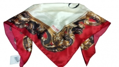 Moschino Ornate Border Scarf Red