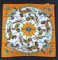 Barbieri Carousel Orange Silk Scarf
